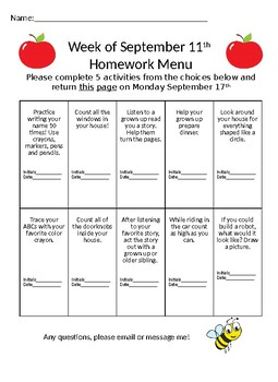September and October Homework Menu