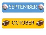 September and October Sports Themed Calendar Headings