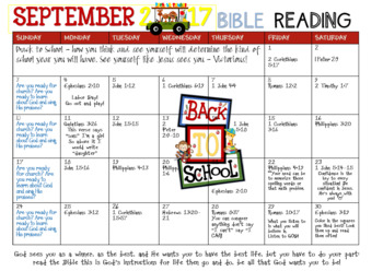 September bible Reading Calendar