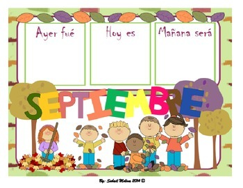 September calendar Flash cards English&Spanish