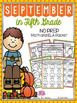 September in Fifth Grade (NO PREP Math and ELA Packet)