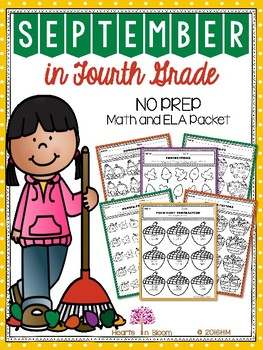 September in Fourth Grade (NO PREP Math and ELA Packet)