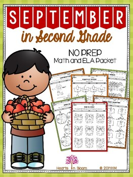 September in Second Grade (NO PREP Math and ELA Packet)