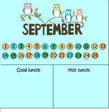 September lunch count and attendance owl theme