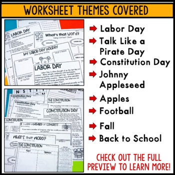 Labor Day, Constitution Day, Johnny Appleseed: September-themed common core