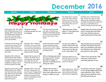 September through June Monthly Writing Calendars