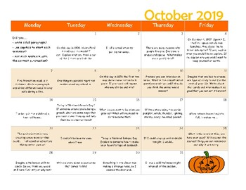 September through June Monthly Writing Calendars