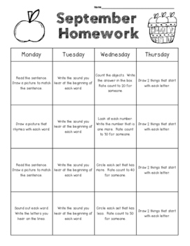 September Kindergarten Common Core Homework Packet