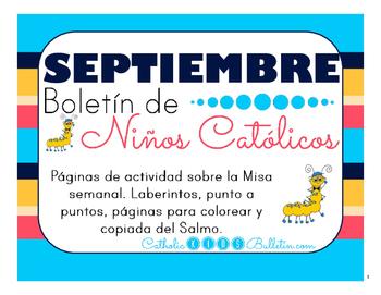Septiembre 2016 Boletín para Niños Católicos: Mass Activity Pages-In Spanish!