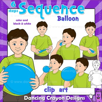 Sequence Clip Art | Sequence Cards: Blowing up a Balloon