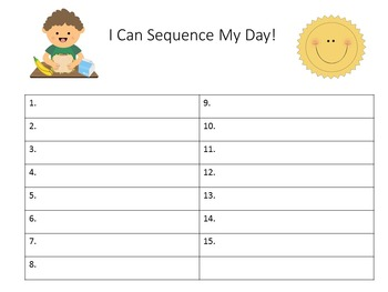 Sequence of Events Kindergarten