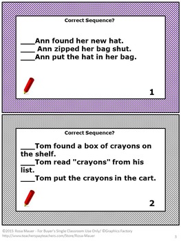 Sequence Cards Literacy Activity
