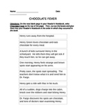 """Sequence Cards for """"Chocolate Fever"""""""