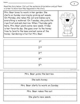 Sequence Cut and Paste Worksheets