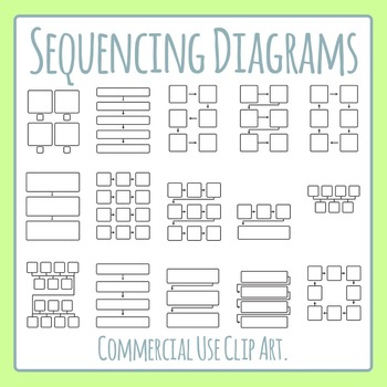 Sequence Diagrams Blank Templates Clip Art Set for Commercial Use