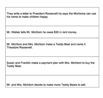 Sequence Events of A Teddy Bear for Theodore Roosevelt