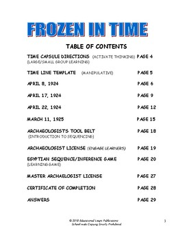 Sequence - Frozen in Time Themed Unit