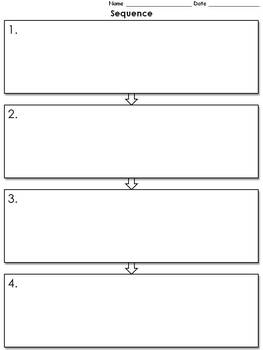 Sequence Graphic Organizer - Flow Chart - 4 with Numbers - full page