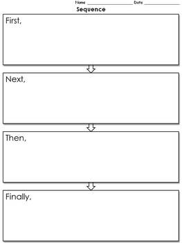Sequence Graphic Organizer - Flow Chart - 4 with Transition Words - full page