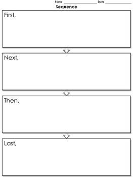 Sequence Graphic Organizer - Flow Chart - 4 with Transitio