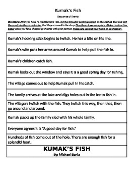 Sequence: Kumak's Fish (Reading Street by Scott-Foresman)