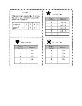 Middle School Math Center: Sequence Math Cards 6.4A, 6.5a