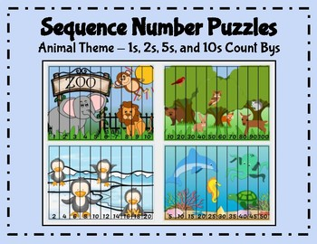 Counting with animals teaching resources teachers pay teachers sequence number puzzles 1s 2s 5s 10s count bys animal fandeluxe Images