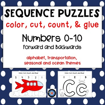 Sequence Puzzles: Color, Cut, Count, & Glue