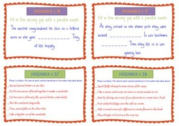 Sequence Reading Skill Picture Task Cards - Guided Reading - BUNDLES