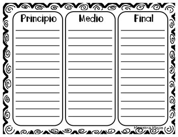 Sequence Worksheet in Spanish- Hoja de trabajo (Secuencia)