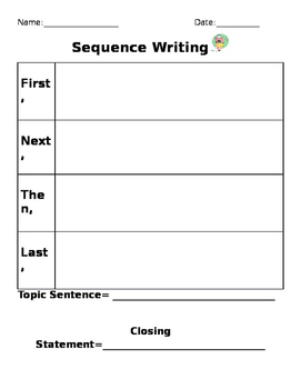 Sequence Writing Organizer