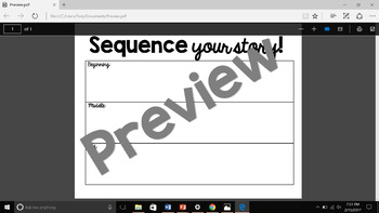 Sequence Writing Organizer (Beginning, Middle, and End)