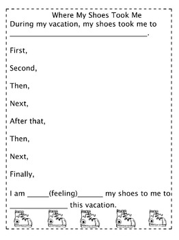 Back to School/Vacation: Sequence Writing: Where Have Your Shoes Taken You?