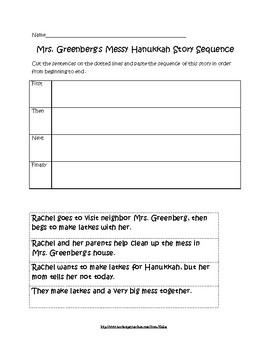 "Sequence activity for ""Mrs. Greenberg's Messy Hanukkah"" story"