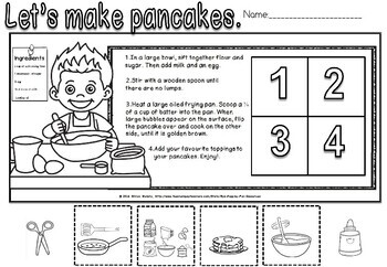 Sequence how to make pancakes