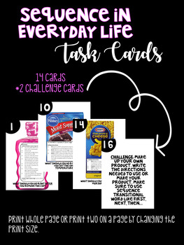 Sequence in Everyday Life Task Cards