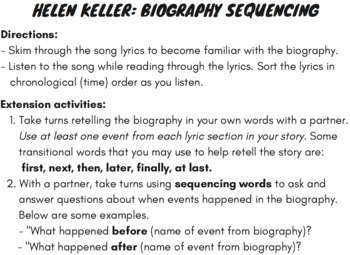 Sequence of Events Center: Sequencing Reading Comprehension Sort Using Rap Song
