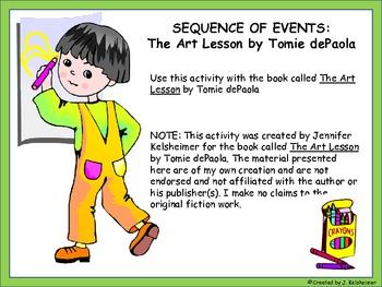 Sequence of Events Cut and Paste Activity (Story: The Art Lesson)