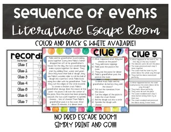Sequence of Events Literature Escape Room
