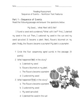 Sequence of Events - Nonfiction Text Features Assessment