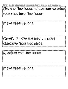 Sequence of Steps for Using a Microscope