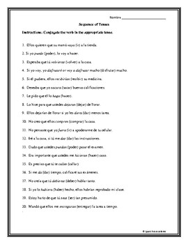 Sequence of Tenses Individual Worksheet Fill in the Blank2