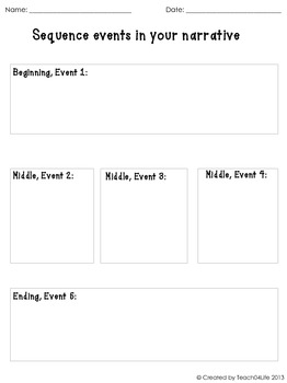 Sequence writing events- graphic organizer