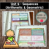 Sequences - Algebra Interactive Notebook (Unit 4)