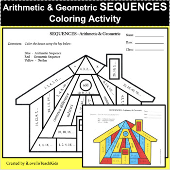 Sequences Arithmetic & Geometric Coloring Activity - GREAT REVIEW & Test Prep