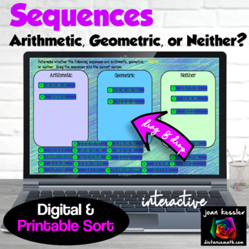 Sequences Arithmetic Geometric or Neither Sort with GOOGLE Slides™