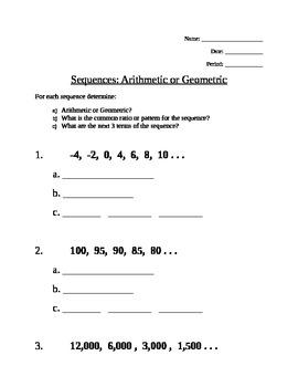 Sequences - Geometric & Arithmetic