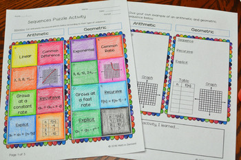 Sequences Puzzle Activity (Arithmetic and Geometric Sequences)