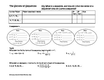 Sequences & Recurrence Relations Guided Notes