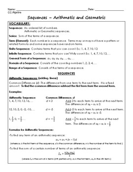 Sequences Regents Review (Notes & Practice Questions)